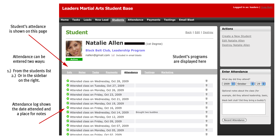Student Detail (attendance) Screenshot