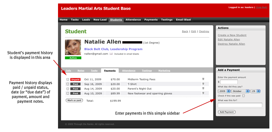 Student Detail (payments) Screenshot