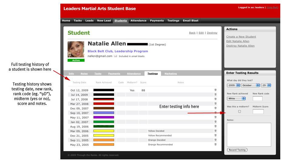 Student Detail (testings) Screenshot